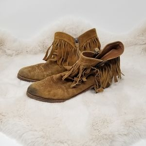Sam Edelman Leather Fringe Cowboy Ankle Boots 9.5